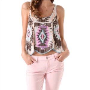 Free People Aztec  Crystalized Knit Tribal Tank XS